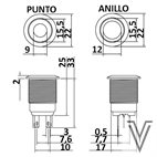 PULSADOR MOMENTANEO OFF- (ON) PV4-INOX IP67-RING-ROJO-12V