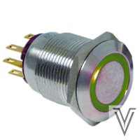 PULSADOR MOMENTANEO OFF- (ON) PV4-INOX IP67-RING-VERDE-12V