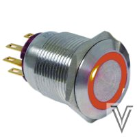 PULSADOR MOMENTANEO OFF- (ON) PV4-INOX IP67-RING-NARANJA-12V