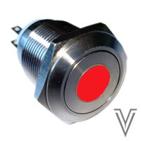 PULSADOR MOMENTANEO OFF- (ON) PV4-INOX IP67-PUNTO-ROJO-12V