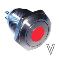 PULSADOR MOMENTANEO OFF- (ON) PV4-INOX IP67-PUNTO-ROJO-24V