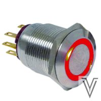 INTERRUPTOR OFF-ON PV4-INOX IP67-ANILLO-ROJO-12V