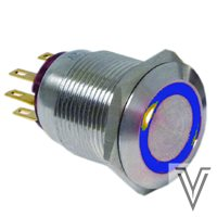 INTERRUPTOR OFF-ON PV4-INOX IP67-ANILLO-AZUL-12V
